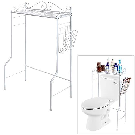 Amazon.com: Space Saver Design Metal Storage Organizer Rack / Freestanding  Bathroom Shelf W/ Magazine Basket, White: Home U0026 Kitchen