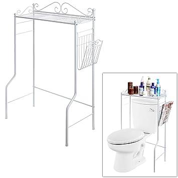 space saver design metal storage organizer rack bathroom shelf w magazine basket