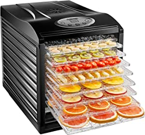 Chefman 9-Tray Food Dehydrator Machine Professional Electric Multi-Tier Food Preserver, Dried Meat or Beef Jerky Maker, Fruit & Vegetable Dryer with 9 Slide Out Trays & Transparent Door, Black