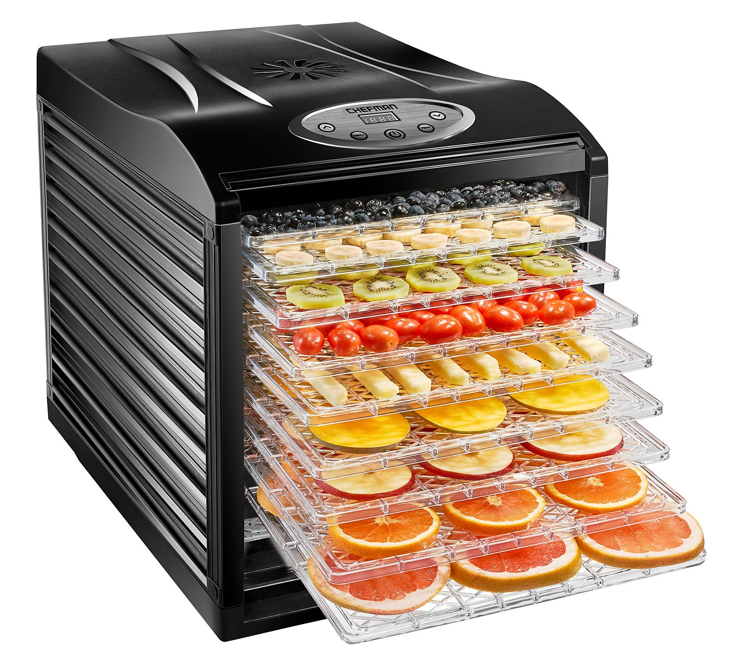 Chefman Food Dehydrator Machine Professional Electric Multi-Tier Food Preserver, Meat or Beef Jerky Maker, Fruit & Vegetable Dryer with 9 Slide Out Trays & Transparent Door - RJ43-SQ-9
