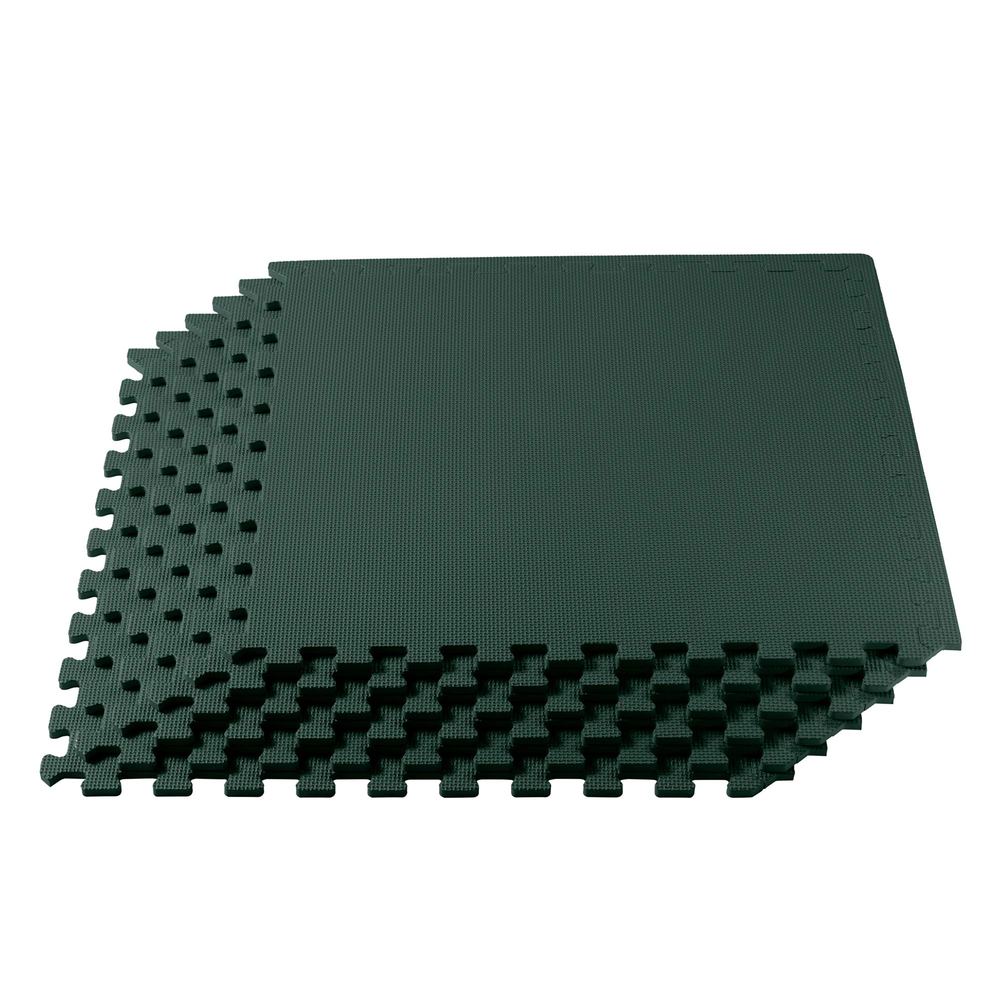 We Sell Mats Multipurpose Exercise Floor Mat with EVA Foam, Interlocking Tiles, Anti-Fatigue, for Home or Gym, 16 Square Feet (4 Tiles), 24 x 24 x 3/8 Inches, Hunter Green