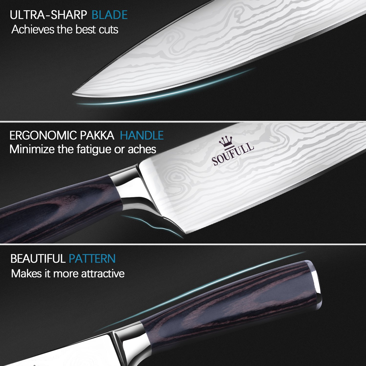 Soufull Chef Knife 8 inches Japanese Stainless Steel Gyutou Knife Professional Kitchen Knife with Ergonomic Handle by Soufull (Image #2)