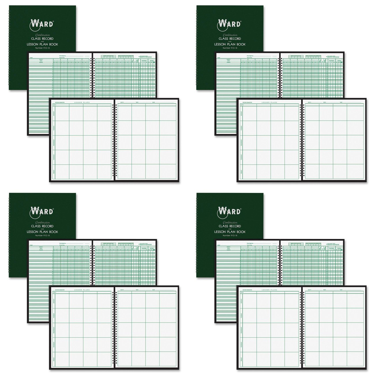 Ward 91018 Combination Record & Plan Book, 9-10 Weeks, 8 Periods/Day, 11 x 8-1/2 (HUB91018), 4 Packs