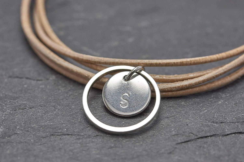 LederArmband Gravur Circle Edelstahl personalisiert/…