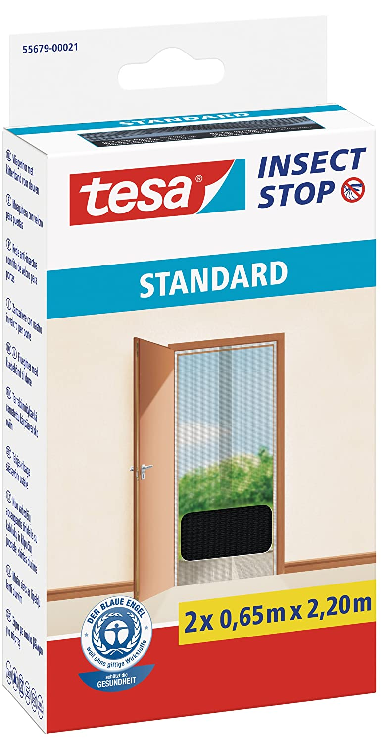 tesa 55679-00021-03 Insect Stop Hook and Loop Standard Fly Screen for Patio and Balcony Doors, 2 x 0.65 x 2.20 m - Anthracite