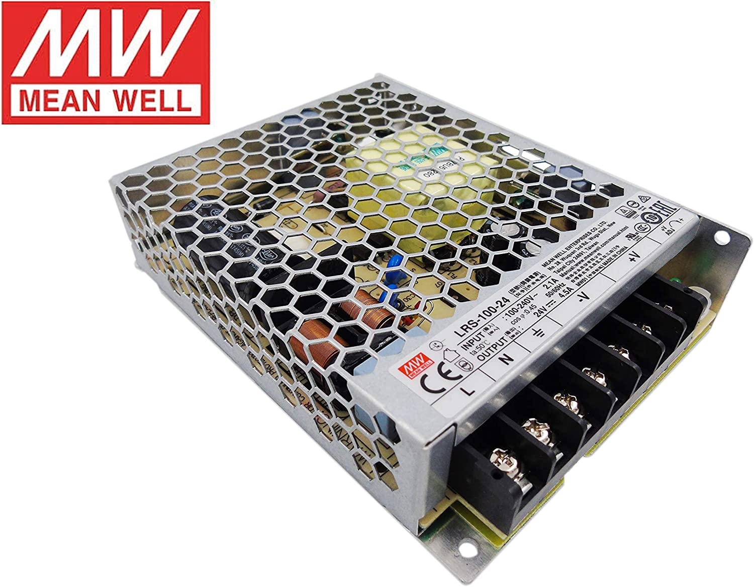 MeanWell Fuente de alimentacion 100W 24V 4.5A Enclosed LRS-100-24 Power Supply AC/DC