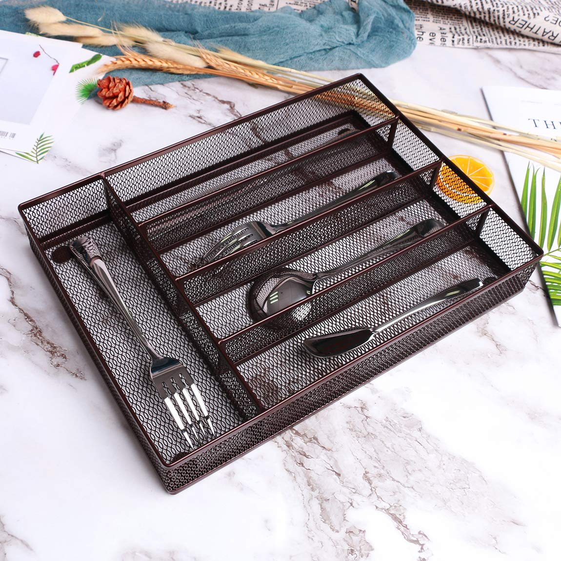 """SZAT PRO Mesh Silverware Tray Cutlery Drawer Organizer Kitchen Storage Flatware Set Utensil Knives Spoons Forks (Brown, 12.5"""" x 9.4"""" x 2"""", 5 Compartments) by SZAT PRO (Image #5)"""