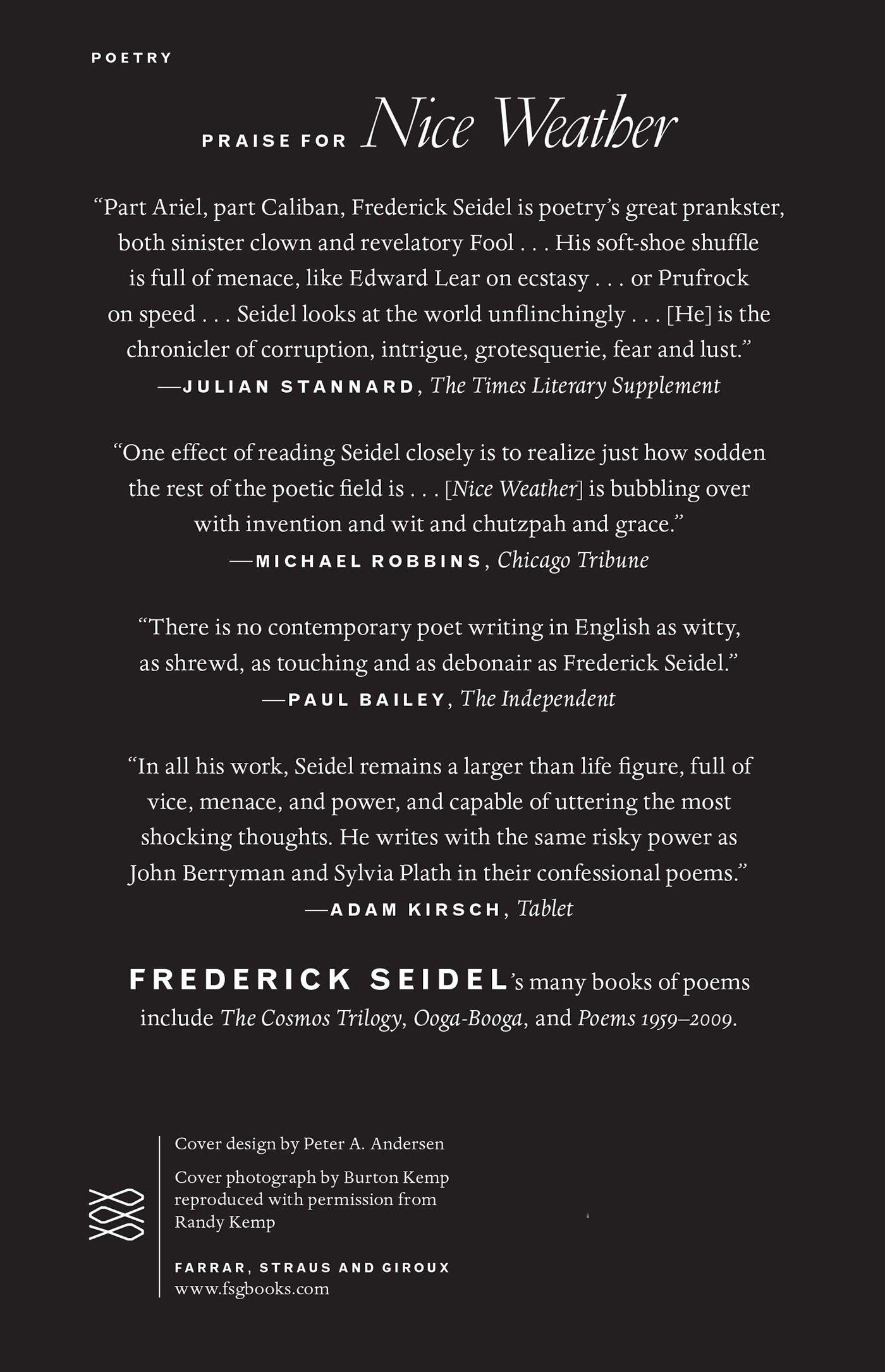 Nice Weather: Poems: Frederick Seidel: 9780374534059: Amazon: Books
