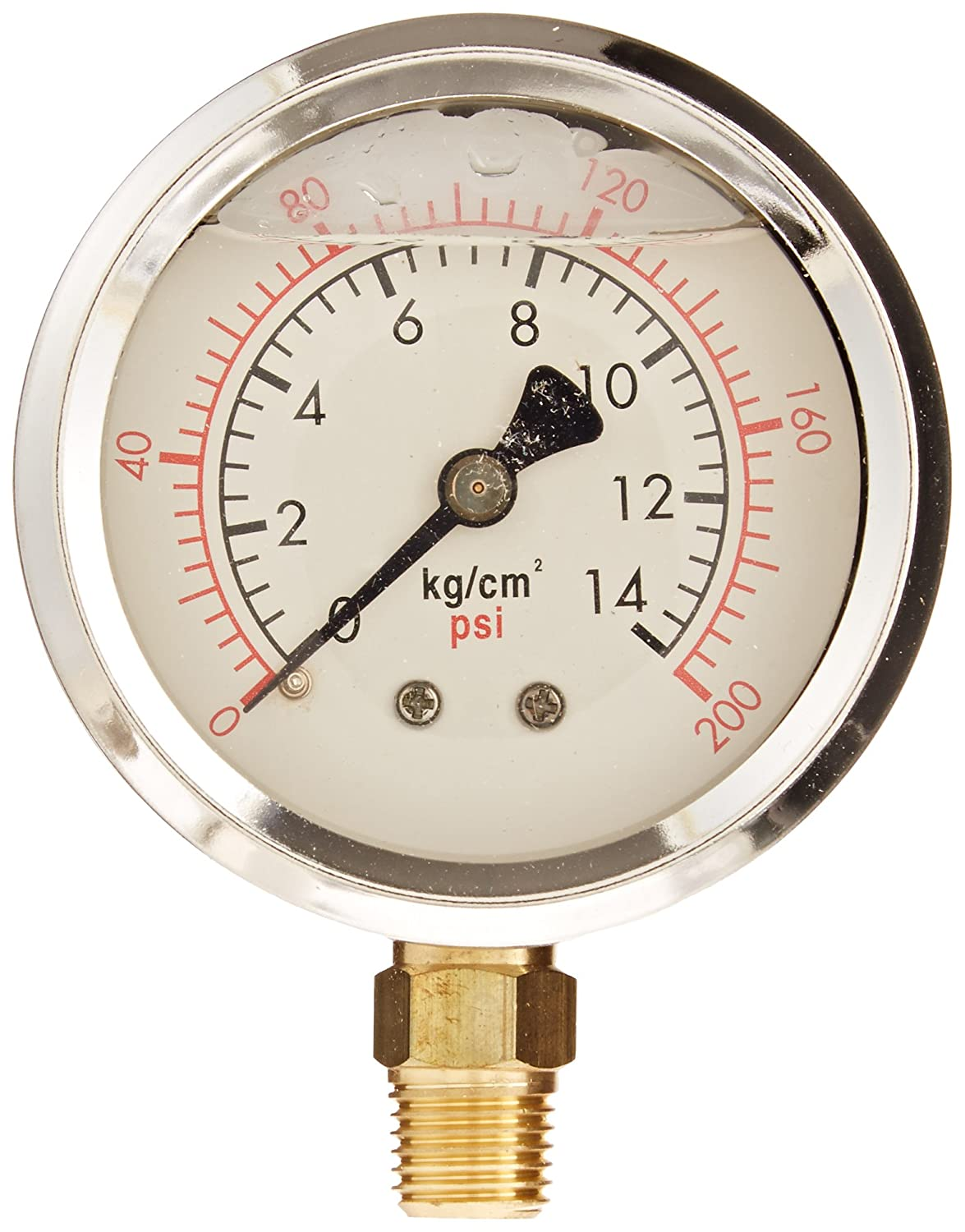 PIC Gauge PRO 201L 254G KG CM2 Glycerin Filled Industrial Bottom Mount Pressure Gauge with Stainless Steel Case Brass Internals Plastic Lens 2 1 2 Dial Size 1 4 Male NPT 0 200 psi kgcm2