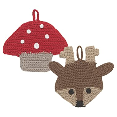 Now Designs Animal Tawashi Dishcloth Scrubbers, Set of Two, Toadstool and Rosie Reindeer