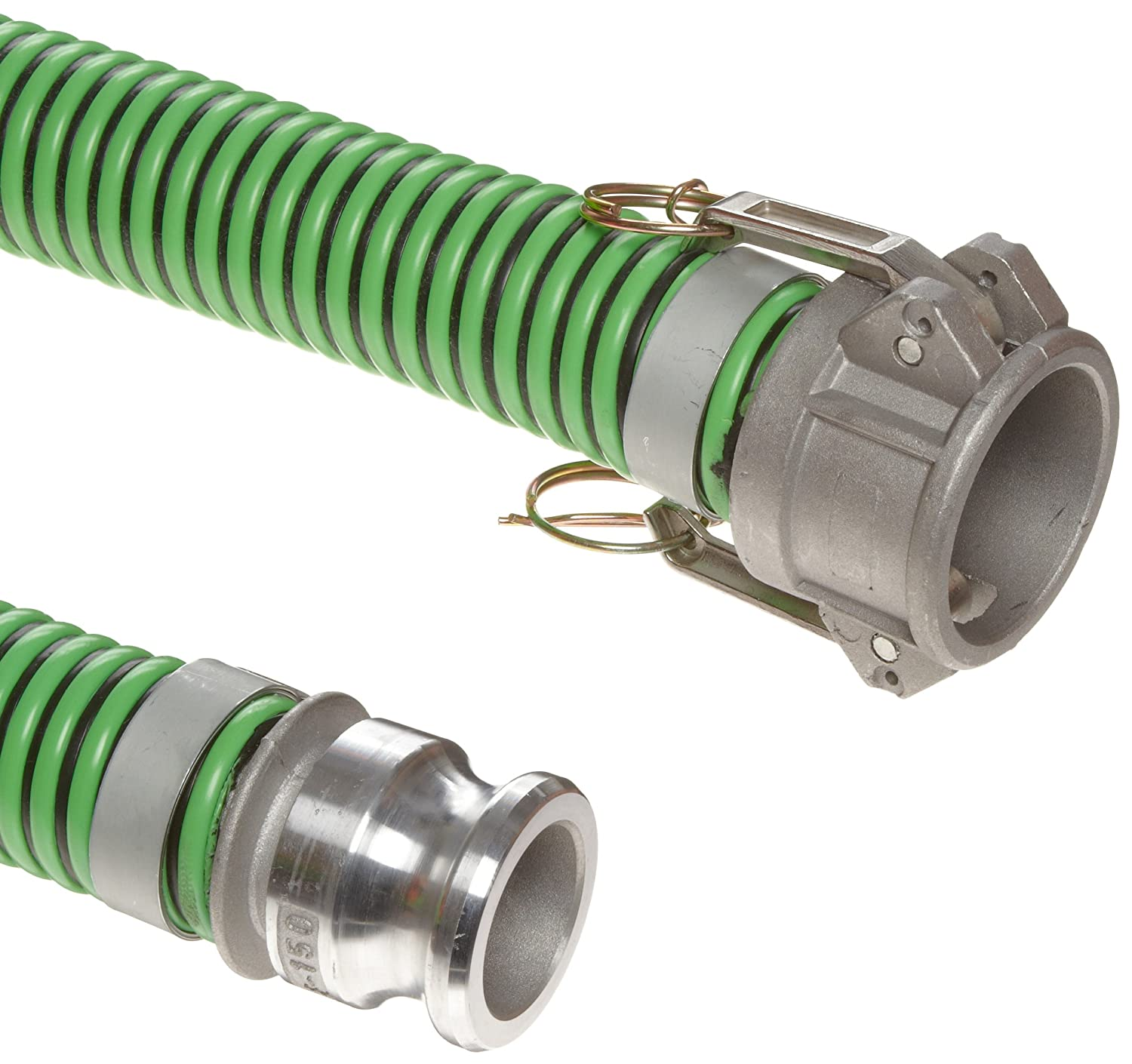 10 Length 29.8 Hg Vacuum Rating 45 PSI Maximum Pressure 3 ID Black Cover with Green Helix 3 Aluminum Cam and Groove Connection 10/' Length 3 ID 3 Aluminum Cam and Groove Connection Unisource 1400 PVC Suction//Discharge Hose Assembly