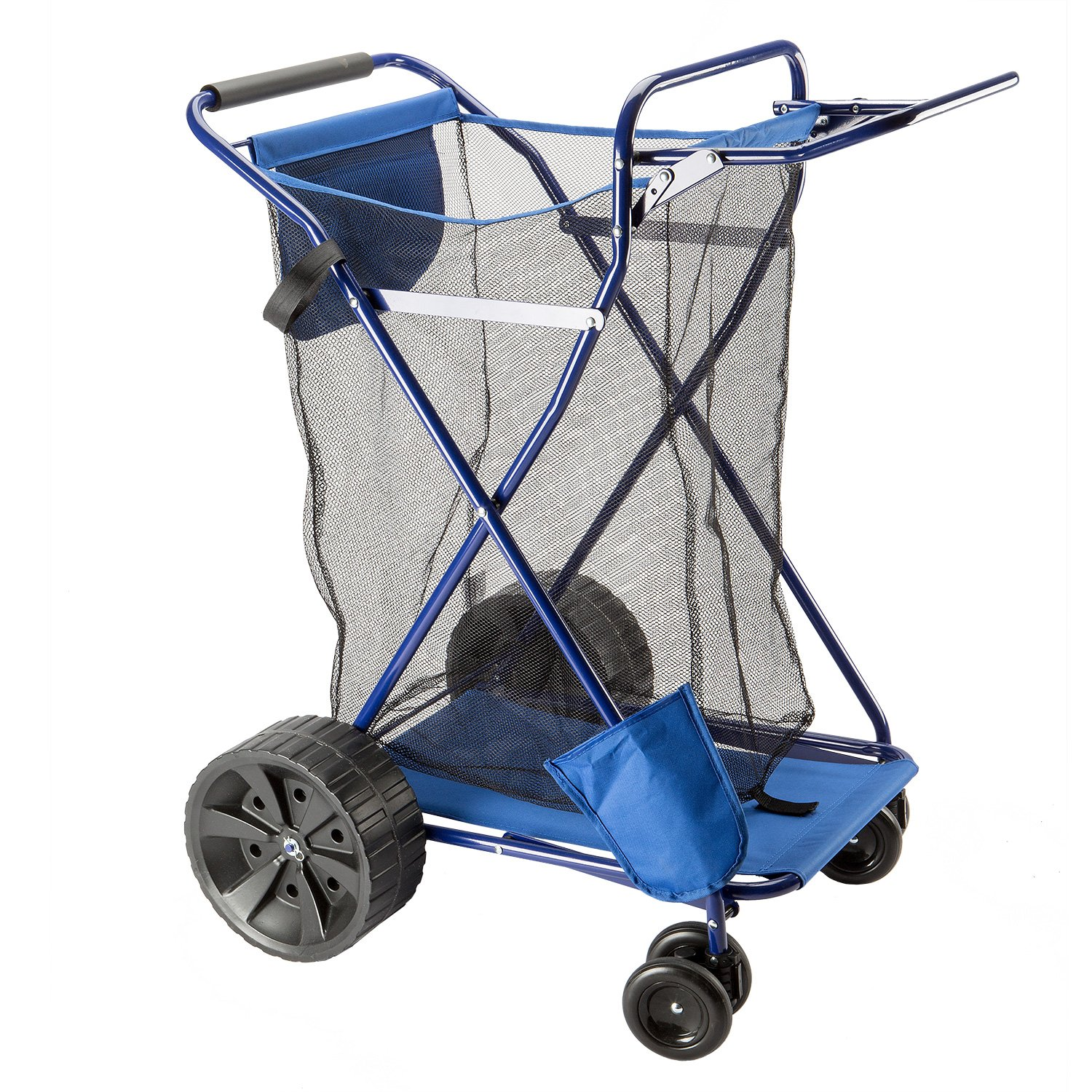beach cart easy roll ultra wide wheels with mesh storage. Black Bedroom Furniture Sets. Home Design Ideas