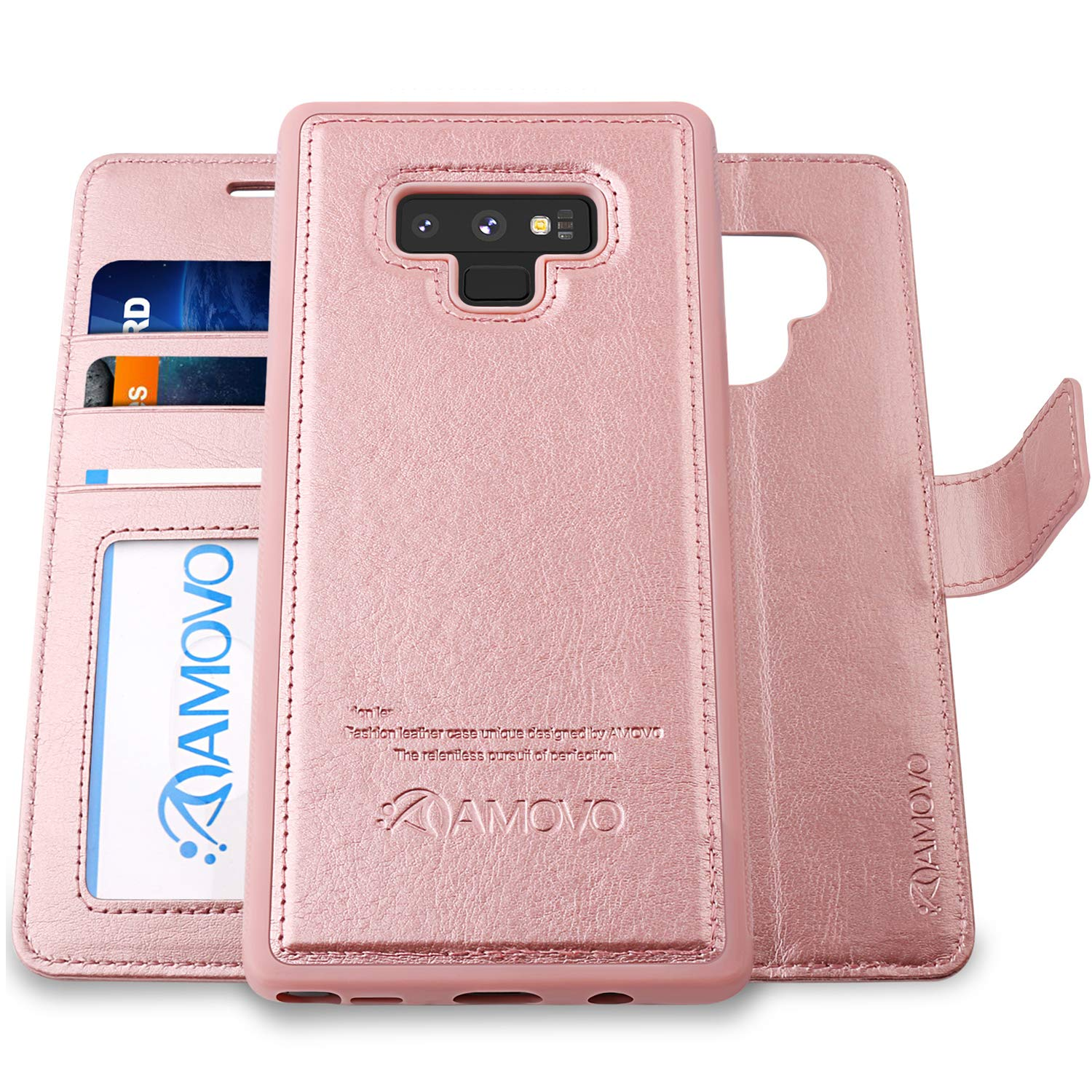AMOVO Case for Galaxy Note 9 [2 in 1] Samsung Galaxy Note 9 Wallet Case [Detachable] [Wrist Strap] [Card Slot] [Kickstand] Note 9 Flip Case with Gift Box Package (Note 9, Rosegold) by Amovo