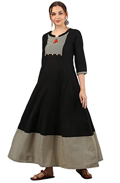 6cf3296828 Janasya Women s Cotton Anarkali Printed Gown  Amazon.in  Clothing ...