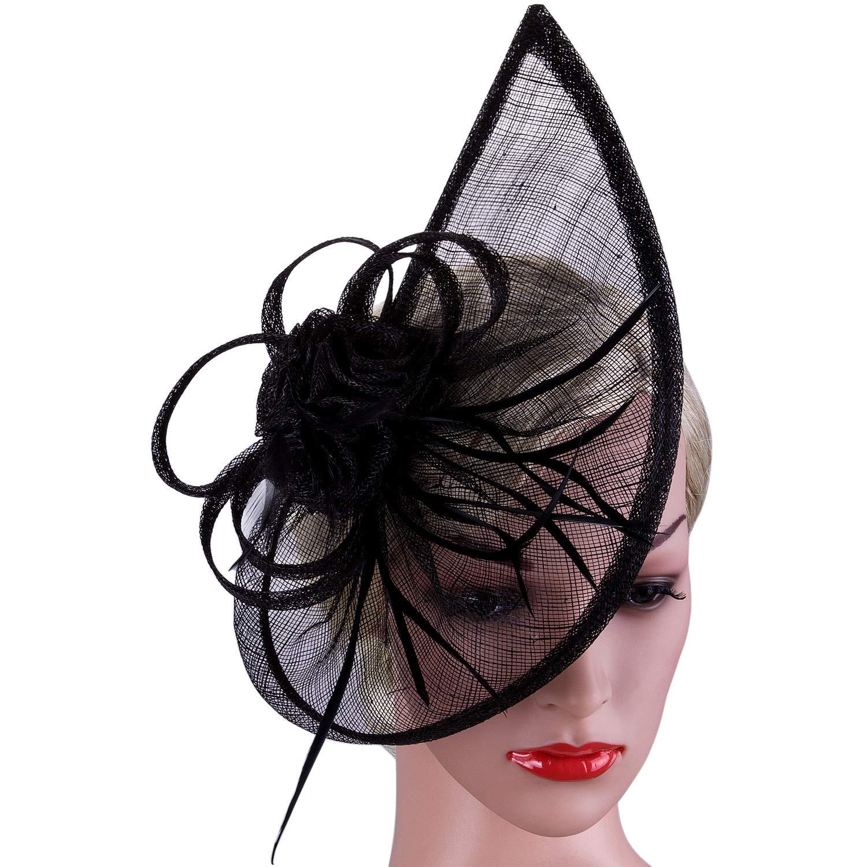 Vijiv Women's Vintage Derby Fascinator Hat Pillbox Headband Feather Cocktail Tea Party Black