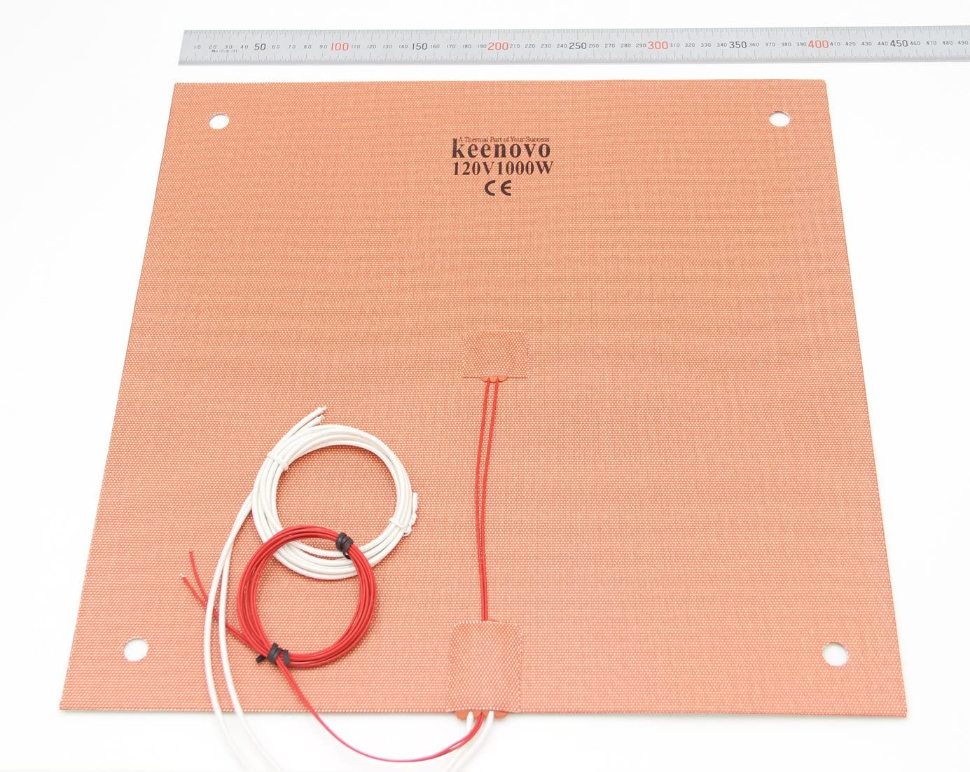 KEENOVO Silicone Heater 400x400mm 1000W for Creality CR-10 S4 3D Printer Bed w/Screw Holes (120V)