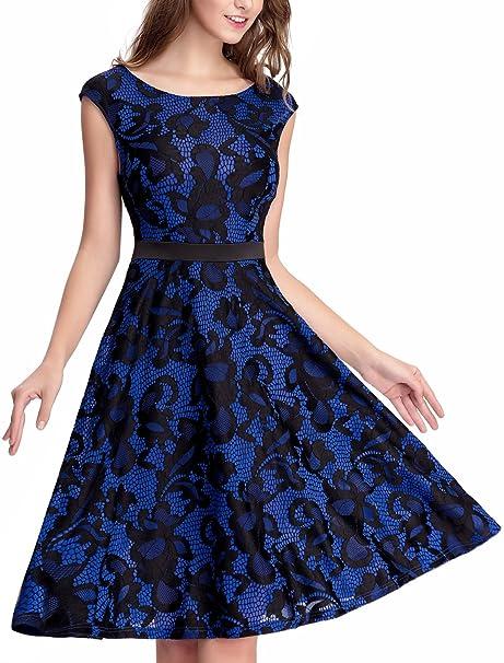 5b4c66df540 Noctflos Women s Lace Contrast Vintage A-line Cocktail Tea Party Dress Blue  S