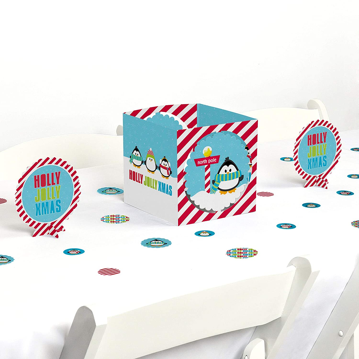 Big Dot of Happiness Holly Jolly Penguin - Holiday & Christmas Centerpiece & Table Decoration Kit