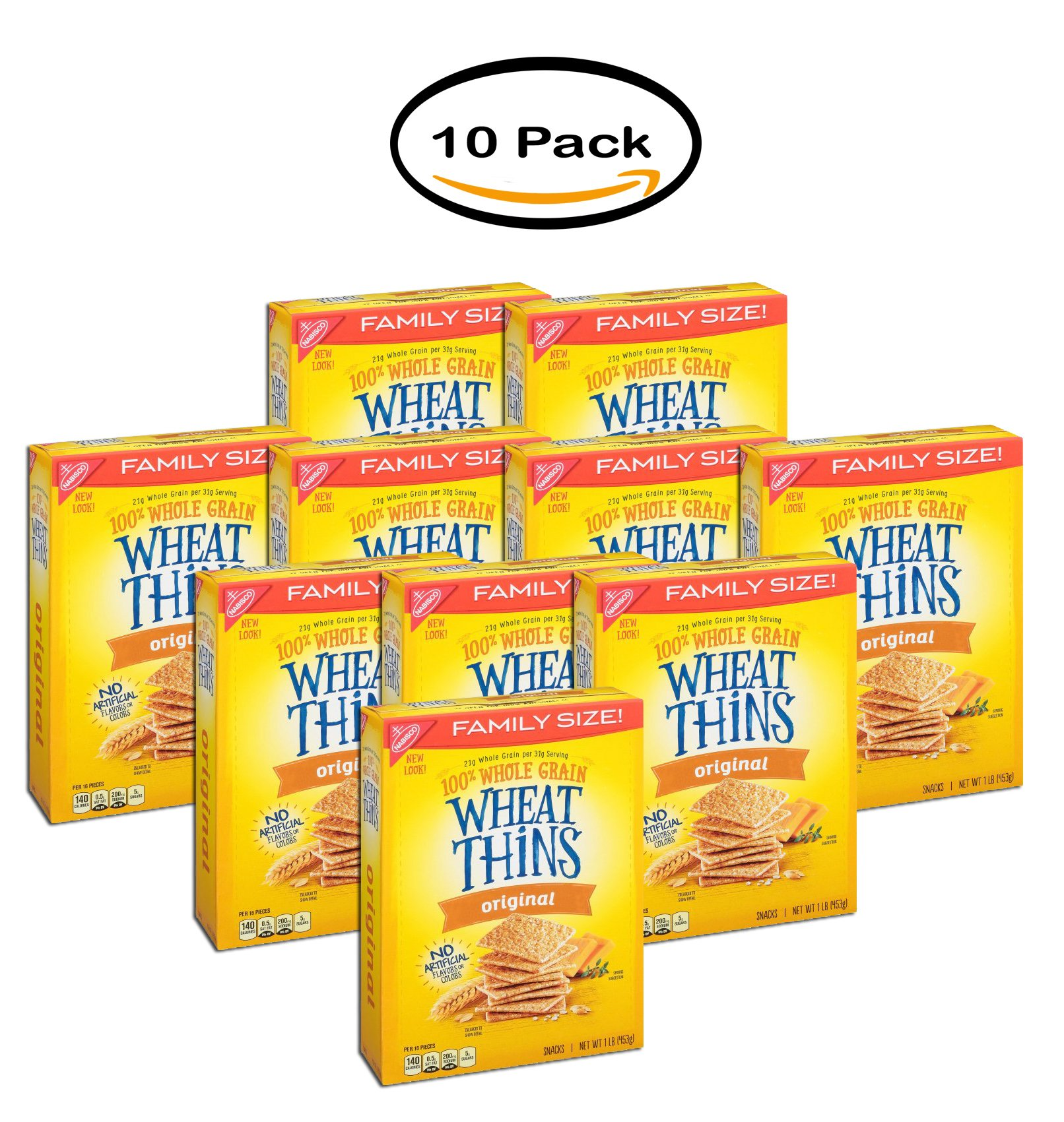 PACK OF 10 - Nabisco Original Family Size Wheat Thins Crackers, 16.0 OZ by Nabisco