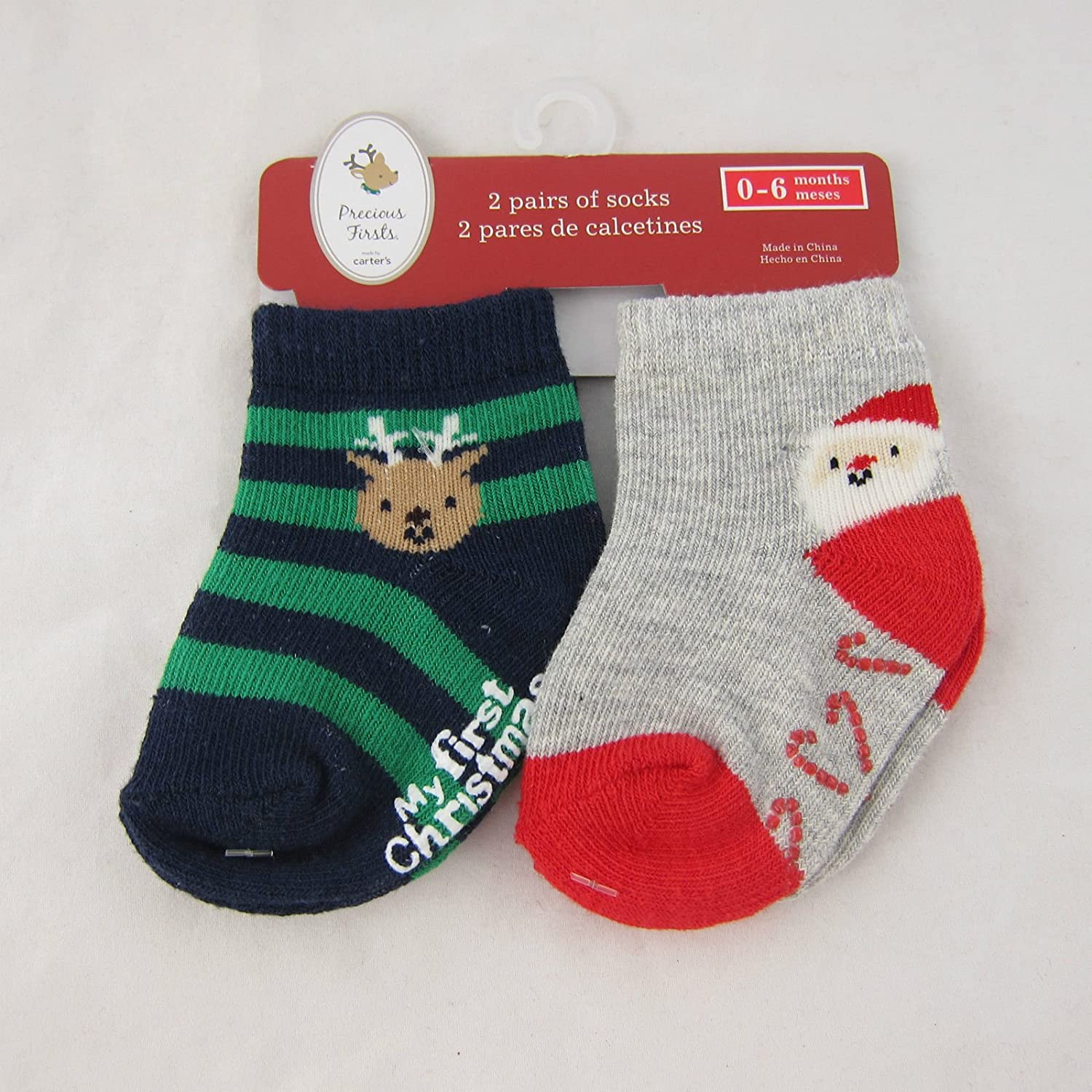 Amazon.com: Carter Precious Firsts First Christmas gripper Socks 2-pack [Santa: Baby
