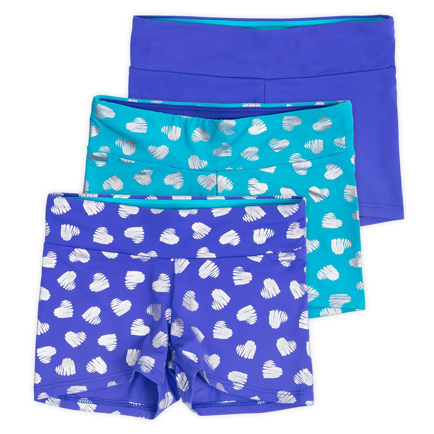 Layla Girls Dance Shorts, Gymnastics & Dancewear, 3-Pack, Tanzanite, 6
