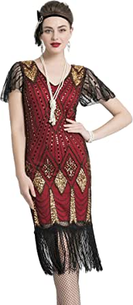 YENMILL 1920s Flapper Fringe Beaded Great Gatsby 20s Gatsby Fringe Party Costume Dress