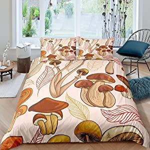 Cartoon Brown Mushrooms Pattern Microfiber Duvet Cover Twin White Background Bedding Sets for Boys Girls Teen Wild Food Theme 2 Pieces Comforter Sets(1 Duvet Cover 1 Pillow case)