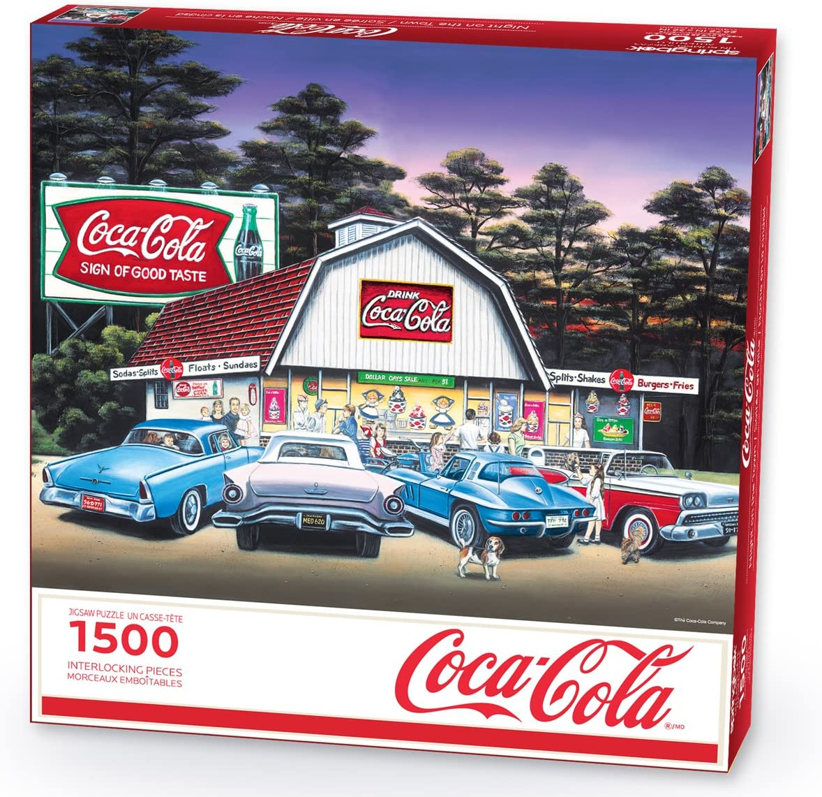Made in USA 1500 Piece Jigsaw Puzzle Springbok Puzzles Large 36 Inches by 28.75 Puzzle Unique Cut Interlocking Pieces Night on The Town