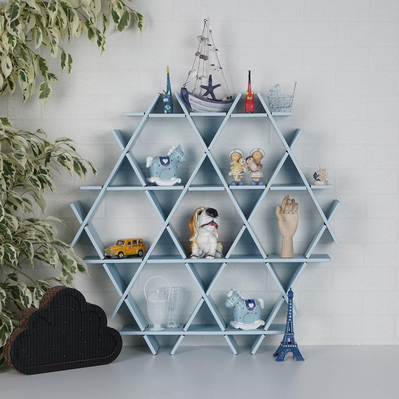 LaModaHome Cardboard Shelf 100% Corrugated Cardboard (27.6'' x 26.4'' x 4.3'') Blue Hexagon Triangle Bedroom Design Decorative Storage Shelf Multi Purpose by LaModaHome