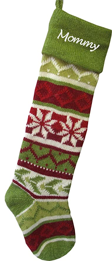 6097f7dbd Amazon.com  Personalized Knit Christmas Stockings - Green - Red   Green  Cuff  Home   Kitchen