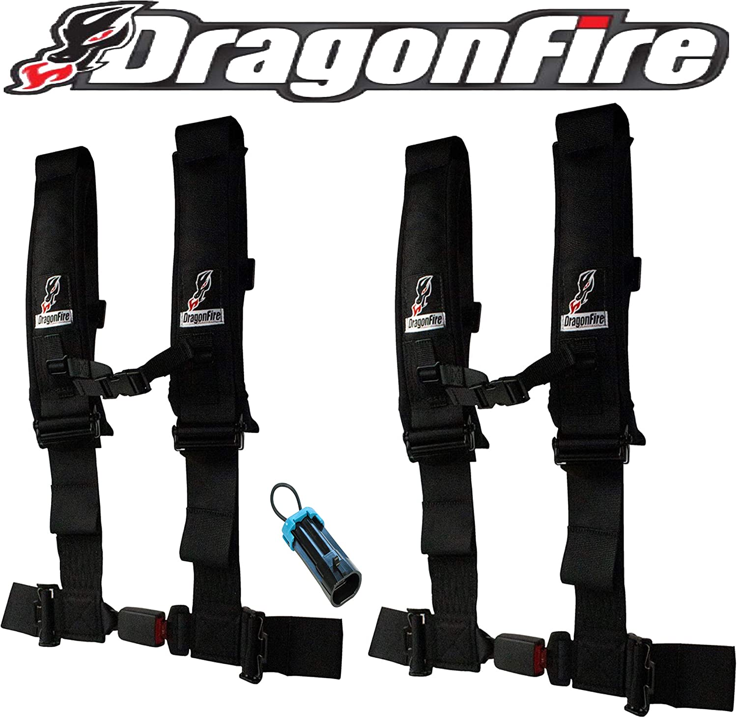 Black Sewn Together DragonFire 4 Point H-Style 2 Youth Harness W//Sternum Clip