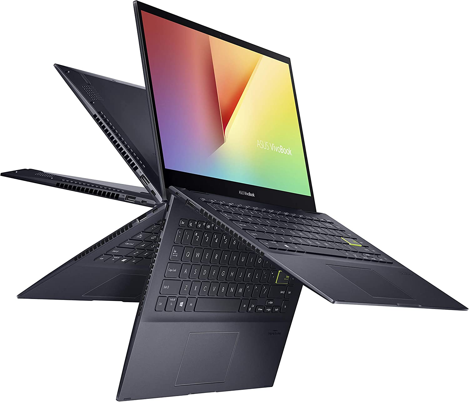 "ASUS VivoBook Flip 14 Thin and Light 2-in-1 Laptop, 14"" FHD Touch Display, AMD Ryzen 7 4700U, 8GB DDR4 RAM, 512GB SSD, Glossy, Stylus, Windows 10 Home, Fingerprint Reader, Bespoke Black, TM420IA-DB71T"