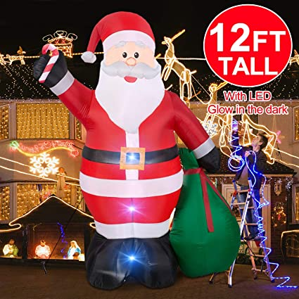 Christmas Inflatables Giant 12 Foot Inflatable Santa Claus With Gift Bag With Led Light For Christmas Yard Decoration Indoor Outdoor Yard Lawn Xmas