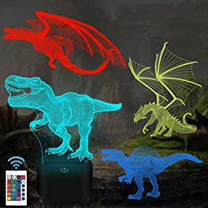 SHADOW VISION Kids 3D Night Light Lamp with USB Charger and Remote Control, Dinosaur Dragon Best Toy Gifts 3D Dinosaur Night Light for Boys Girls Kids Children Baby (Dinosaur and Dragon-4 Patterns)