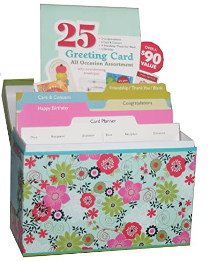 Amazon paper magic all occasion greeting assortment in paper magic all occasion greeting assortment in decorative floral storage box 25 cards with coordinating m4hsunfo