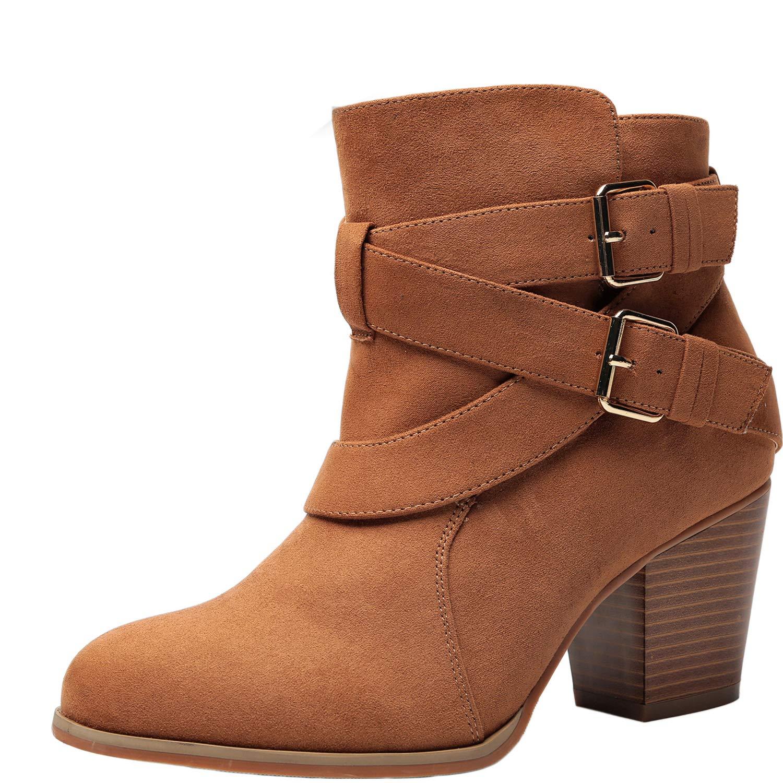 d72e31001cd6 Amazon.com  Women s Wide Width Ankle Booties - Three Cross Strap Buckle Mid Block  Heel Side Zipper Boots.  Shoes