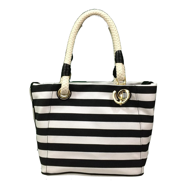 d7ffb799f9ee08 ... Amazon.com Michael Kors Marina Canvas Stripe Grab Bag Tote Blackwhite  Shoes ...
