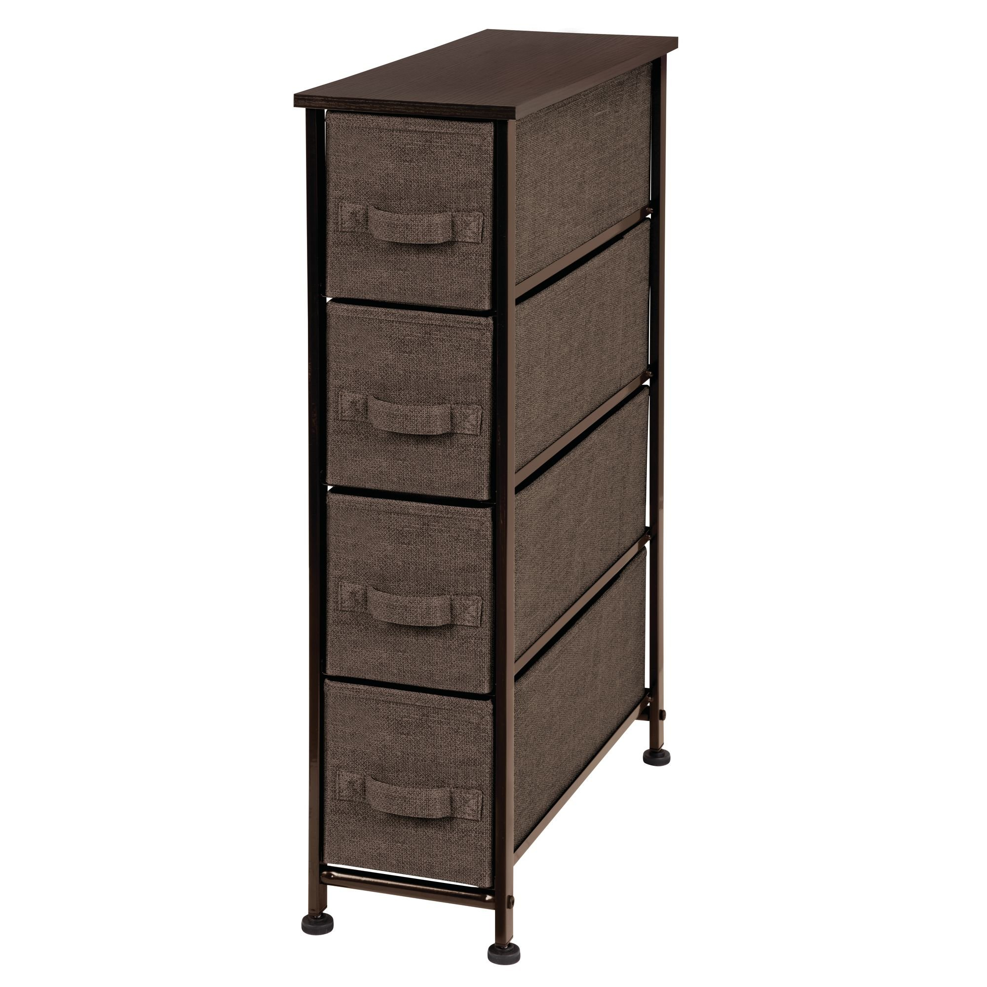 Mdesign fabric narrow 4 drawer dresser and storage - Shallow dressers for small spaces ...