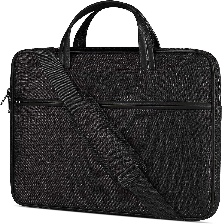 Laptop Case 15-15.6 inch Laptop Shoulder Bag Waterproof Computer Sleeve Carrying Business Bag for MacBook Air/Pro Notebook Portable Handle Laptop Messenger Bag Black