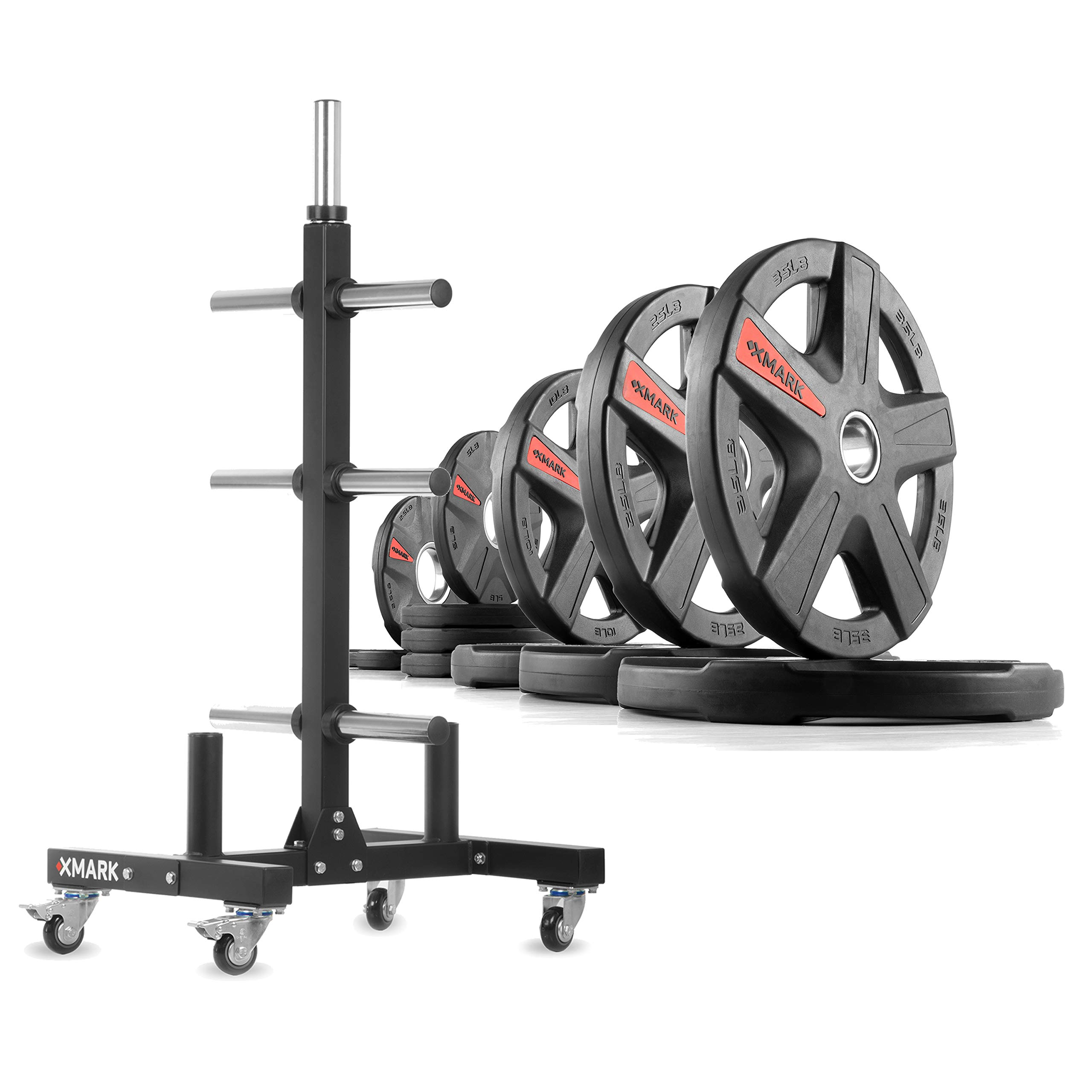 XMark XM-9055 Commerical Olympic Weight Tree Plus a 165 lb Set of Texas Star Olympic Plates by XMark