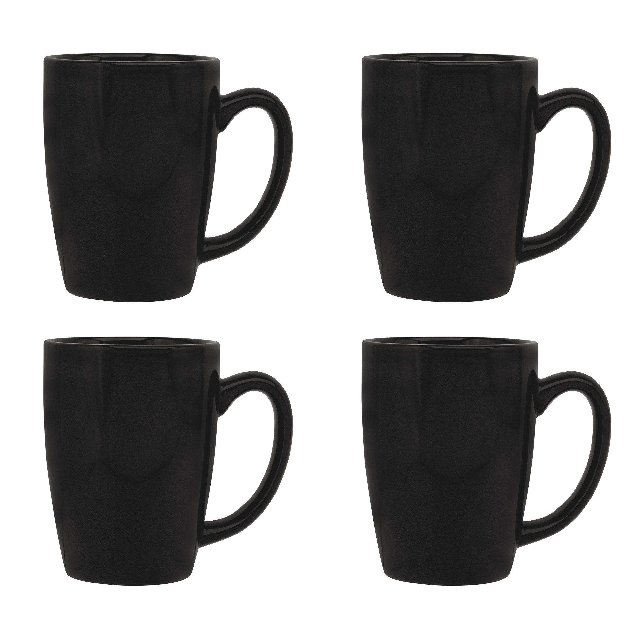 Culver Taza Ceramic Mug 16-Ounce Set of 4 (Black)
