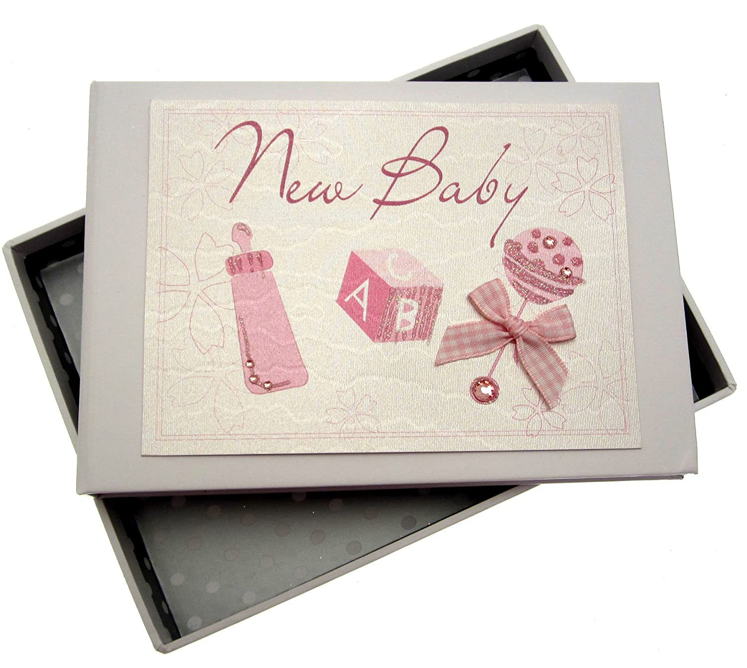 White Cotton Cards Baby Tiny Photo Album (Pink Rattle) ToyCentre RP1T