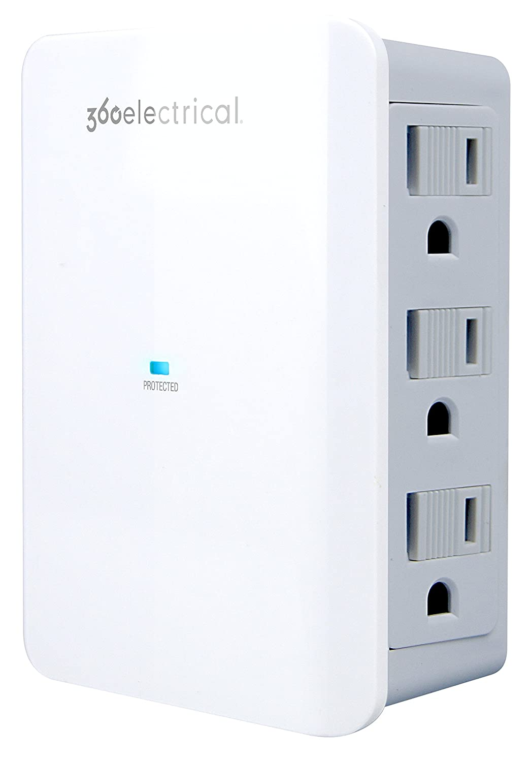360 Electrical 360352 Sideline Protector, 6 Side Facing Outlets, 900 Joules of Surge Protection, White