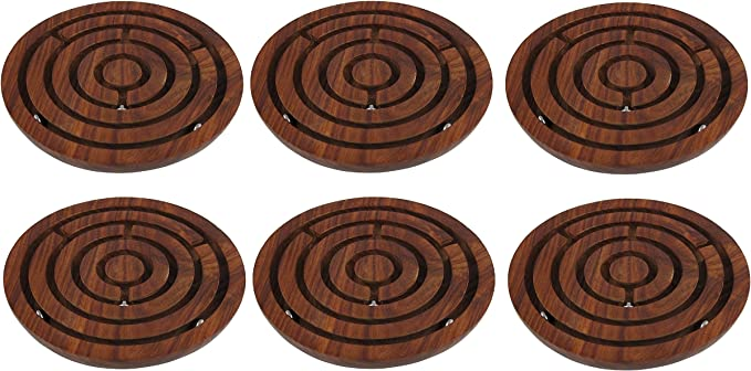 YADAV HANDICRAFTS Handcrafted Indian Wooden Labyrinth Ball Maze Puzzle Game & Decoration Game Labyrinth Ball in a maze Puzzles Pack of 6