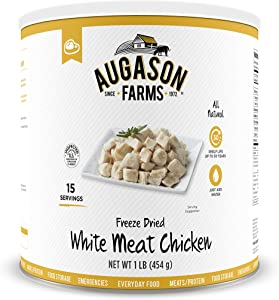 Augason Farms Freeze-Dried White Meat Chicken 100% Real Precooked Chicken Long-Term Food Storage Large Can, 16 oz