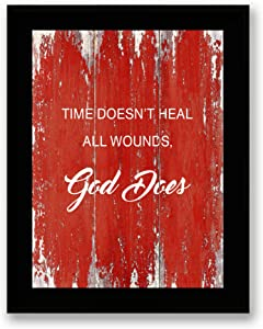 Time Doesn't Heal All Wounds Quote Motivational - FRAMED - Canvas Print Home Decor Desk Stand and Wall Art, Black Real Wood Frame, Red, 7x9