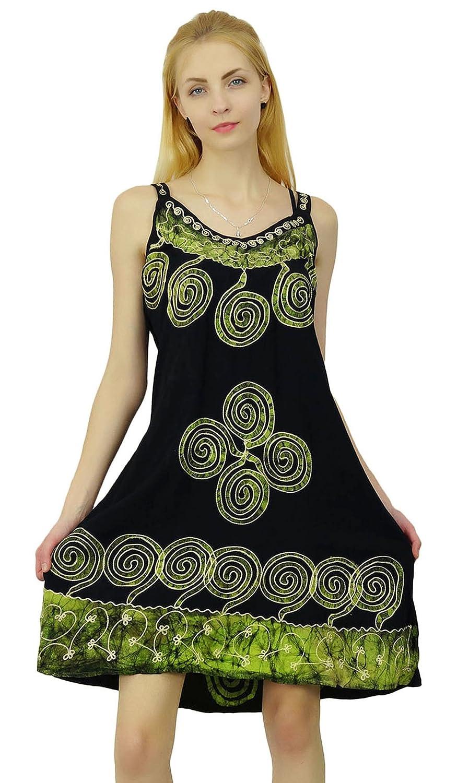 bfedd9411e11 SEASHORE Summer Dress Batik Printed Viscose Rayon Top Casual Tunic Women  Beach Sundress  Amazon.co.uk  Clothing