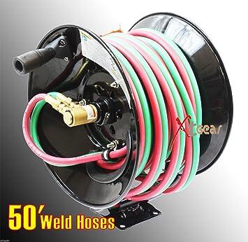 300psi 50/' Manual Twin Oxy Acetylene Welding Hose Reel Mount 50ft Weld Hoses