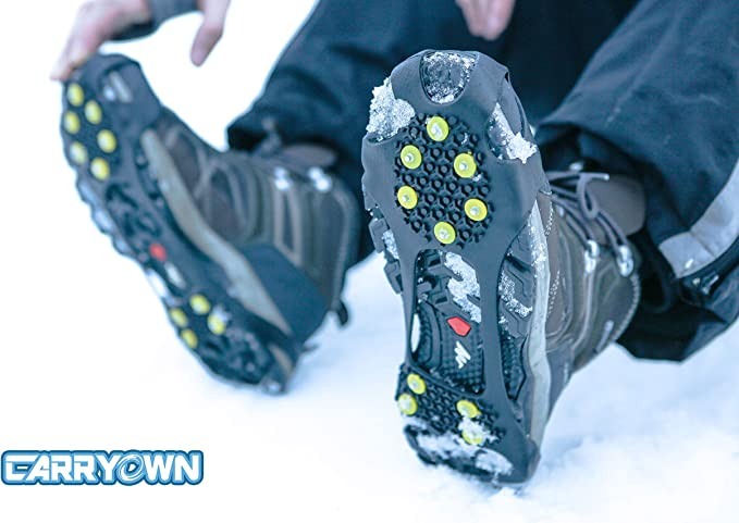 36-44 Ice Grippers Snow Grips Winter Shoes Boots Straps Metal Spikes Studs L JO