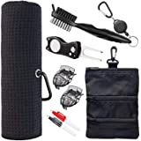Golf Towel and Tool Accessories Bag KIT - Comes with a Golf Towel, Golf Club Cleaner, Divot Repair Tool, Golf Club Brush, Gol